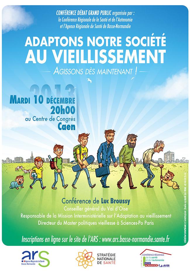 affiche pour une conférence de luc broussy sur l'adaptation de la société au vieillissement