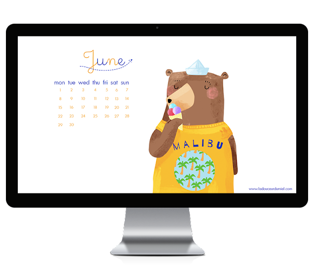 june 2015 free to download illustrated desktop wallpaper with a bear eating ice cream dressed with a yellow tshirt and a boat hat