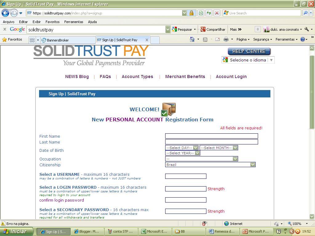 Mudando a vida como criar sua conta no stp para receber dinheiro da banners broker Remessa de dinheiro para o exterior