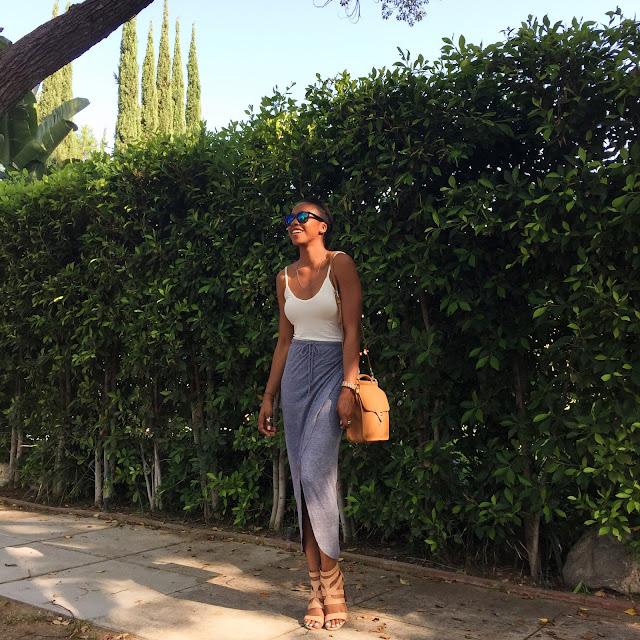 Outfit Details // Heather by Bordeaux tank, C&C California skirt, Steve Madden heels, H&M men's sunglasses, Coach purse