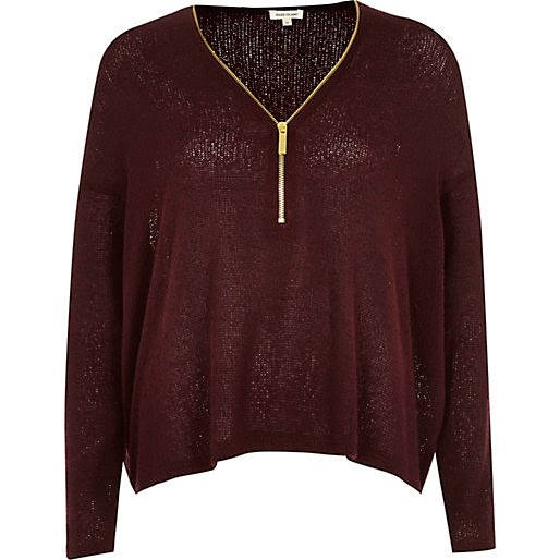 burgundy jumper with zip