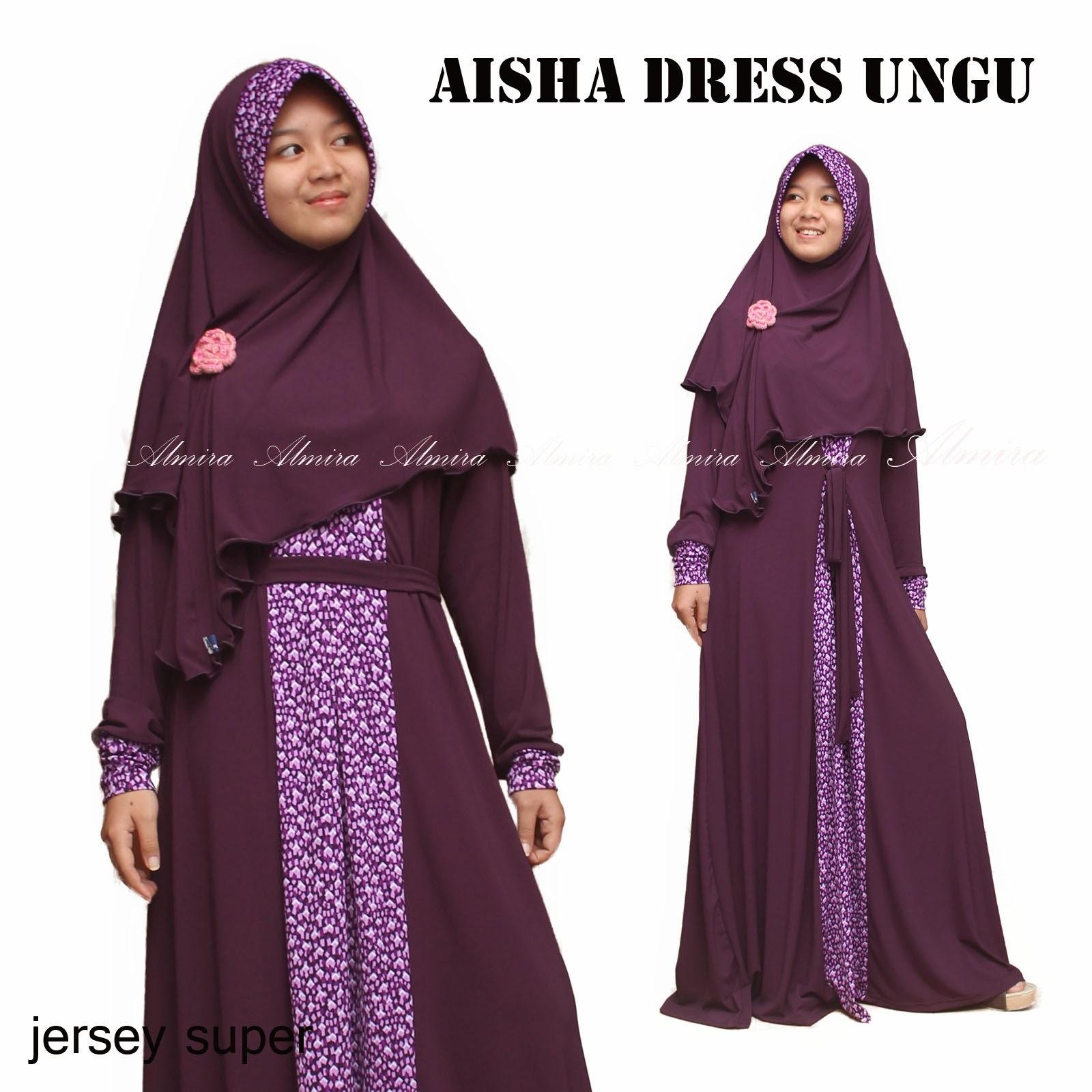 aisha dress ungu jersey baju muslim busana muslimah busui friendly hijab syari hijaber gamis griyaraditya