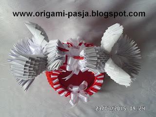 Gołebie, papier, origami, prezent, ślub