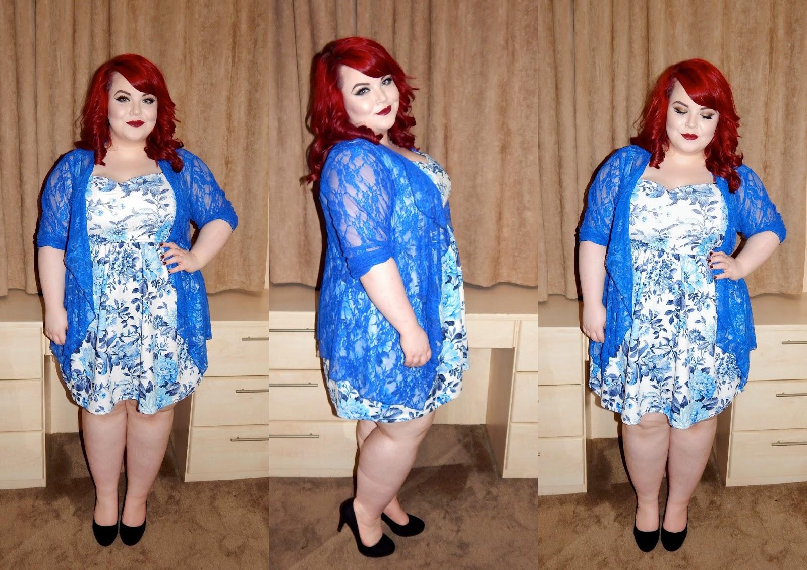 Celeblook lace cardigan, newlook inspire dress, plus size blogger