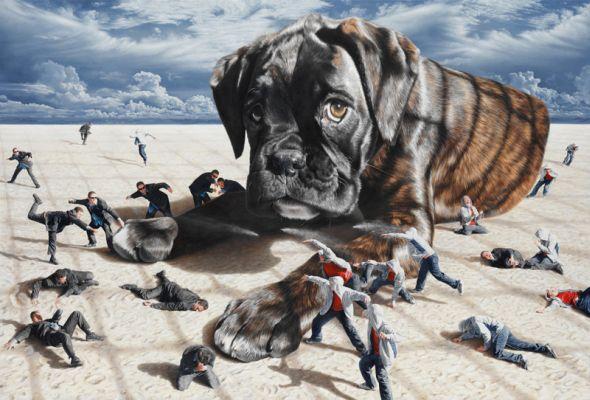 Joel Rea pintura hiper-realista surreal cães gigantes caindo céu Me matando suavemente
