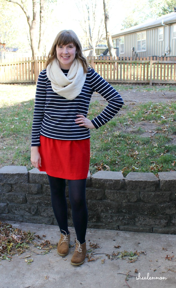skirt plus striped sweater - late fall outfit idea | www.shealennon.com