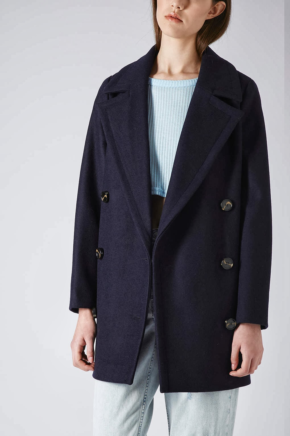 topshop navy coat