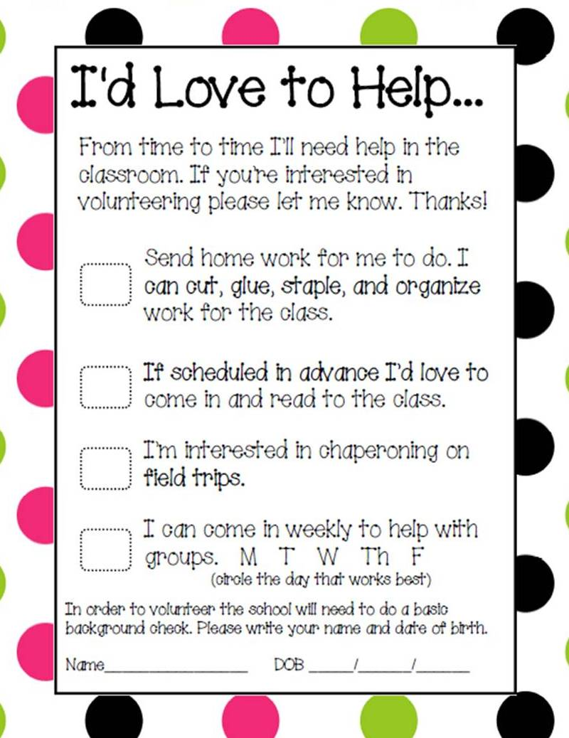Room Mom Volunteer Sign Up Sheet Pictures to Pin – Time Sign Up Sheet Template