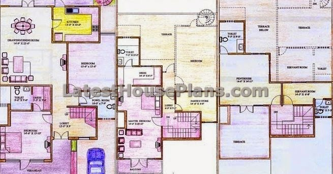 2160 Square Feet 3 Bedroom Independent Duplex House Plans
