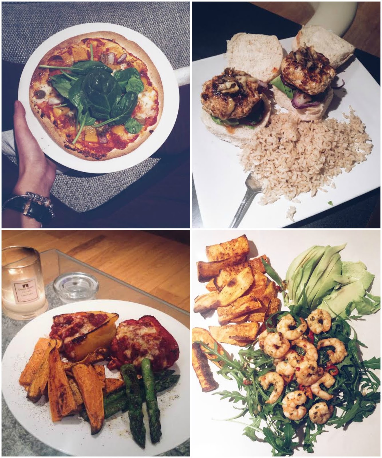 Healthy Meal Ideas, Four Healthy Recipes, Low Calorie Meals, Healthy Dinner Ideas, Turkey Stuffed Pepper, Homemade Tortilla Pizza, Turkey Burgers, Garlic and Chilli prawns