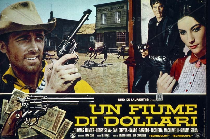 The Hills Run Red Italian Film Poster Starring Thomas Hunter and Henry Silva