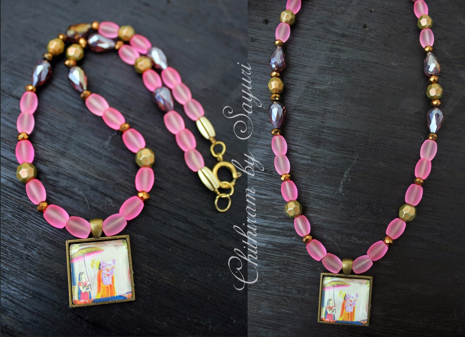 frosted beaded Krishna necklace