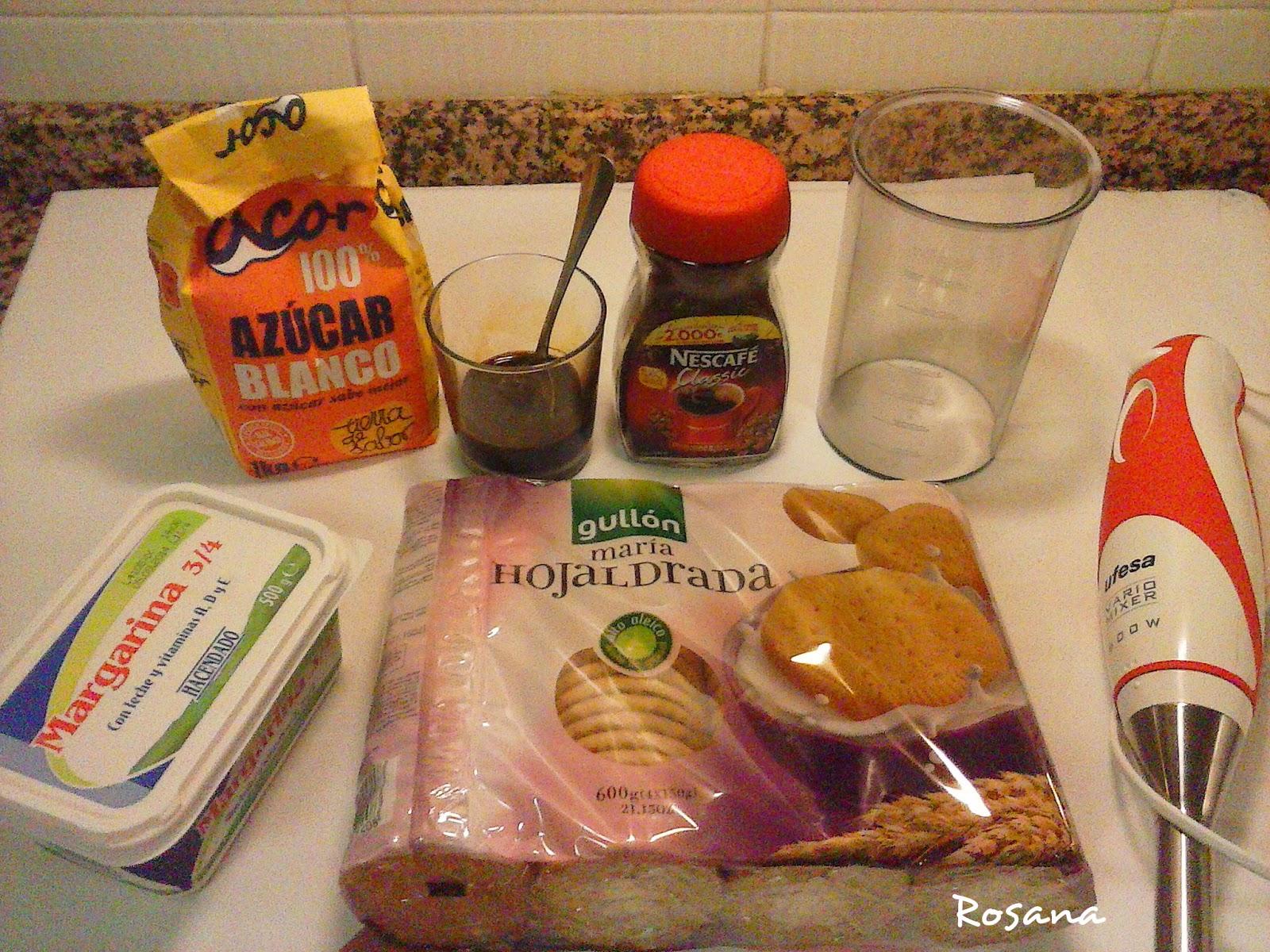 Ingredientes para la tarta de moka