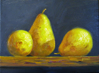 """Bartlett Pears on a Shelf"" by Warren Gossett - for sale on eBay - click on the image"