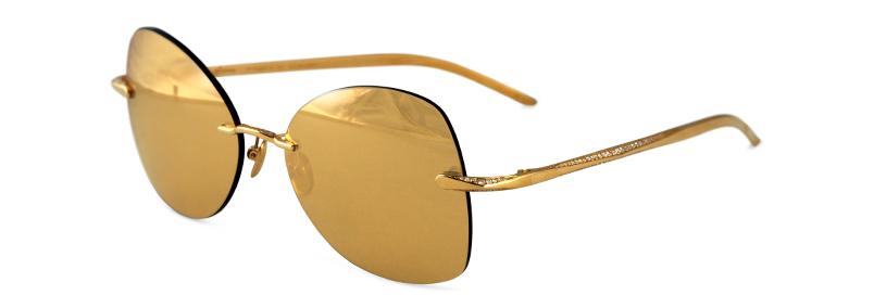 Sama Pyramid of Diamonds Sunglasses Solid 18k Yellow Gold ...