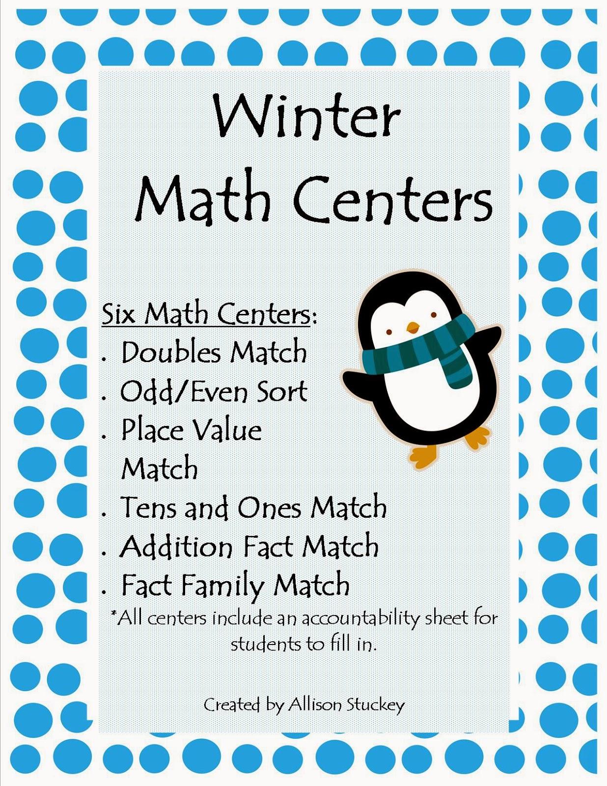 http://www.teacherspayteachers.com/Product/Winter-Math-Centers-for-1st-and-2nd-Graders-363498