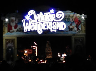 pic of Winter Wonderland sign at night in Hyde Park