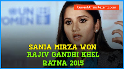 Rajiv Gandhi Khel Ratna 2015 Sania Mirza