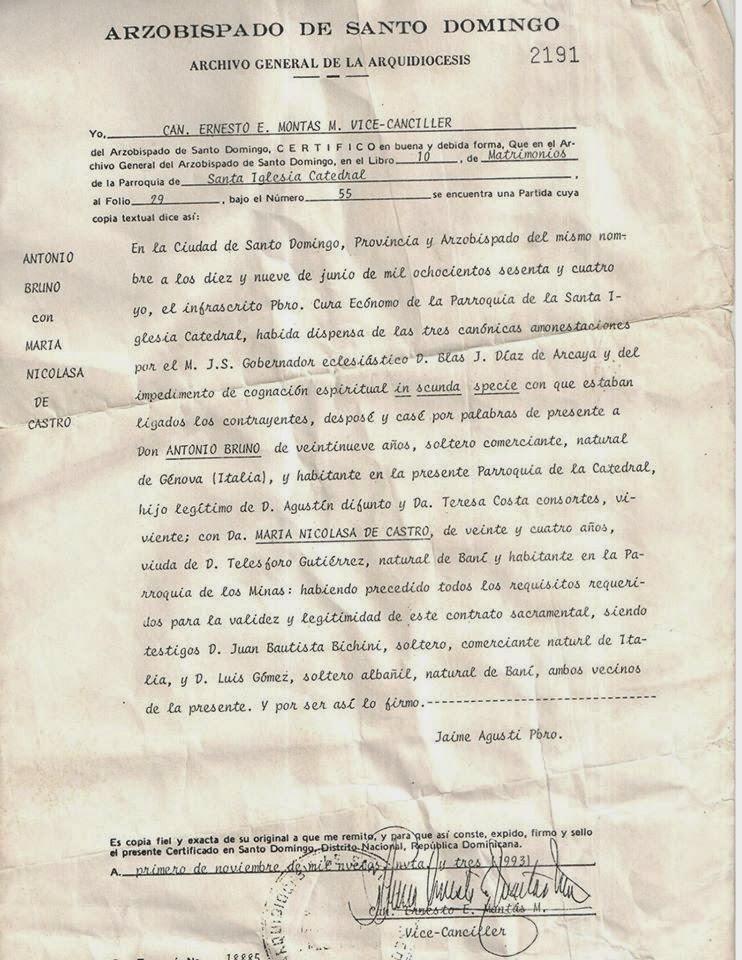 ACTA DE MATRIMONIO DE ANTONIO BRUNO COSTA Y NICOLASA DE CASTRO