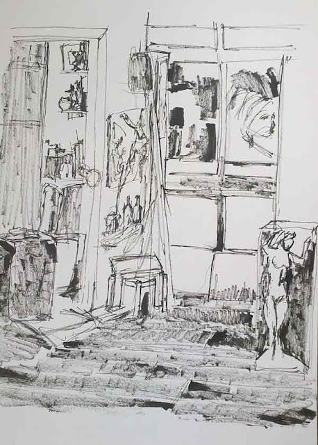 boceto esquina izquierda del estudio