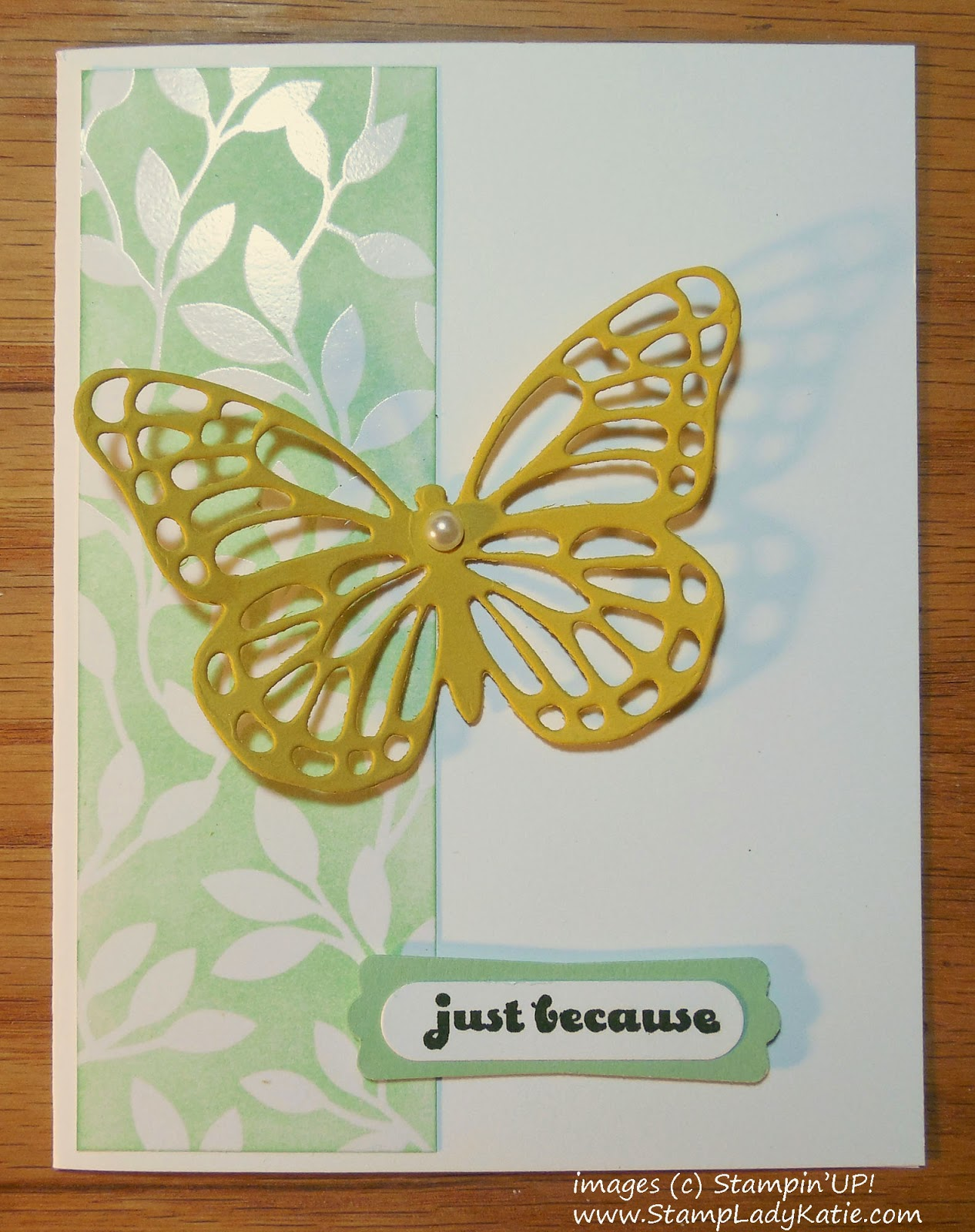 Card made with Stampin'UP!'s Card made with Stampin'UP!'s Butterfly Framelits Dies and Irresistibly Yours DSP