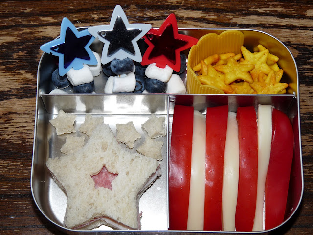 red white blue star bento lunch