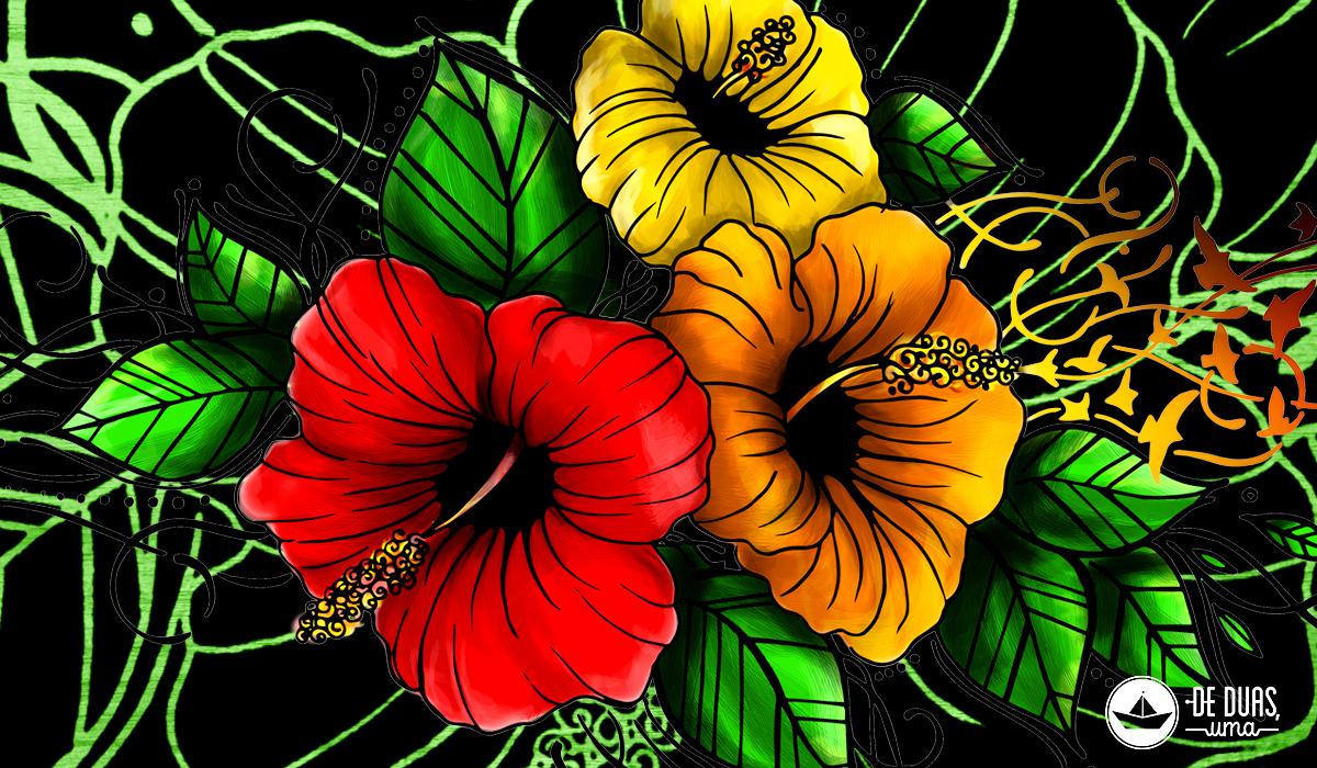 illustration hibiscus flowers de duas uma