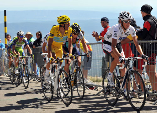 Andy Schleck, Alberto Contador and Lance Armstrong on Ventoux