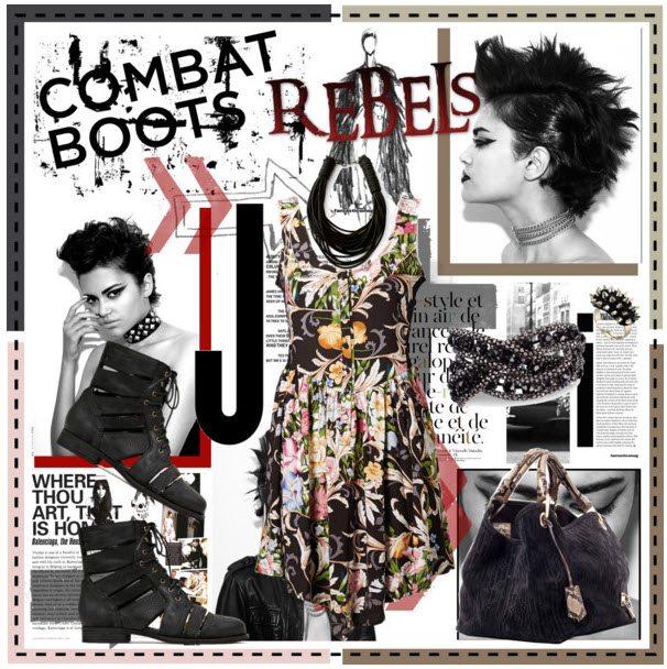 slashed combat boots rebel fashion look