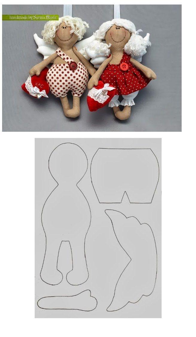 Выкройка текстильной куклы ангела