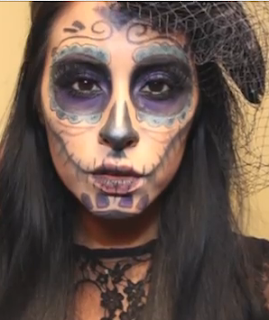 day of the dead sugar skull Halloween makeup style for girls