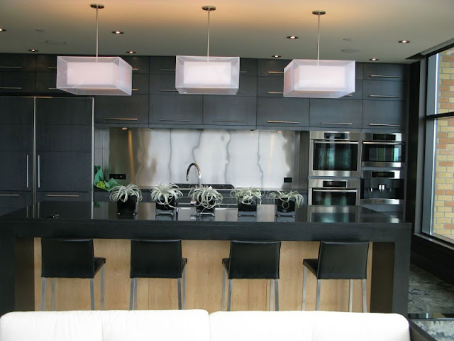 Picture of modern kitchen with black furniture