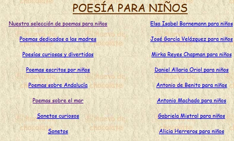 http://www.elhuevodechocolate.com/poesias.htm