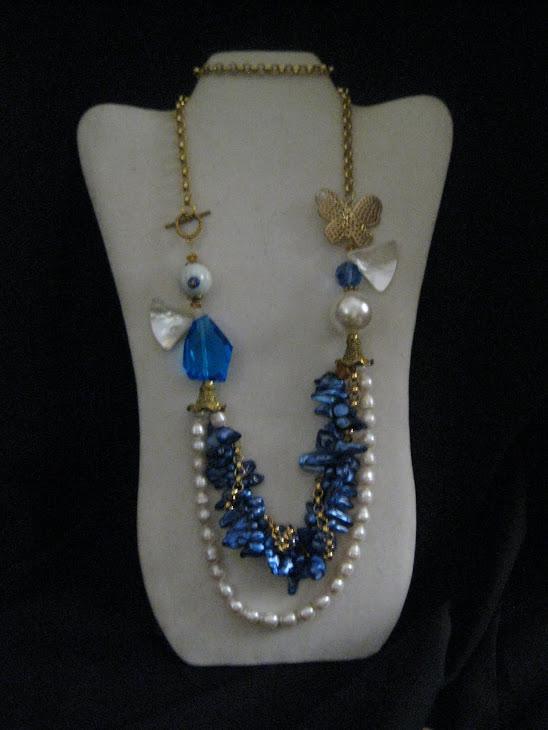 C02112Collar Perla Azul