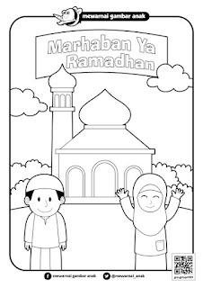 mewarnai gambar marhaban ya ramadhan