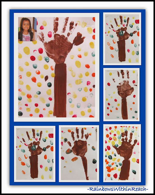 Fall Painted Hand Print Bulletin Board {via Tree RoundUP at RainbowsWithinReach}