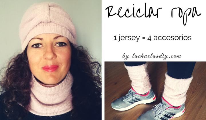 Vídeo tutorial paso a paso para reciclar un jersey y convertirlo en 4 accesorios de invierno: Gorro con lazo tipo turbante,cuello,manoplas,tobilleras.Muy fácil de hacer y parte de la moda sostenible.