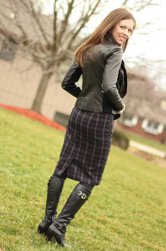 StyleSidebar - Plaid Skirt, Buckle Boots, Leather Jacket