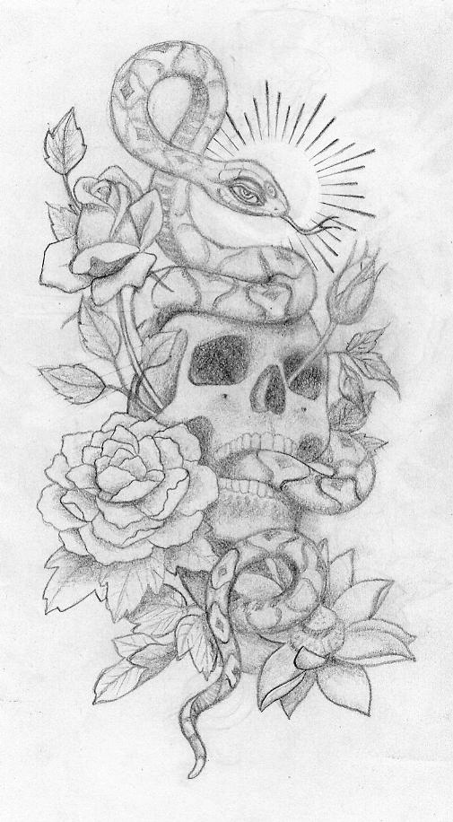 Snake and Skull Tattoo Designs