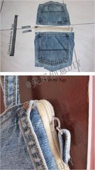 Cara Membuat Tas Dompet dari Celana Jeans Bekas :