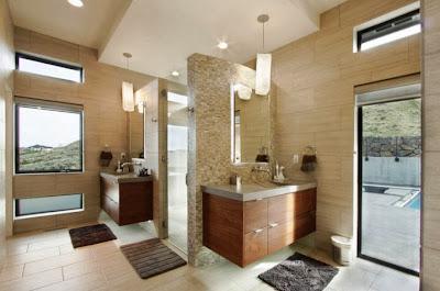 Diseño de cuarto de baño modeno en casa en la montaña