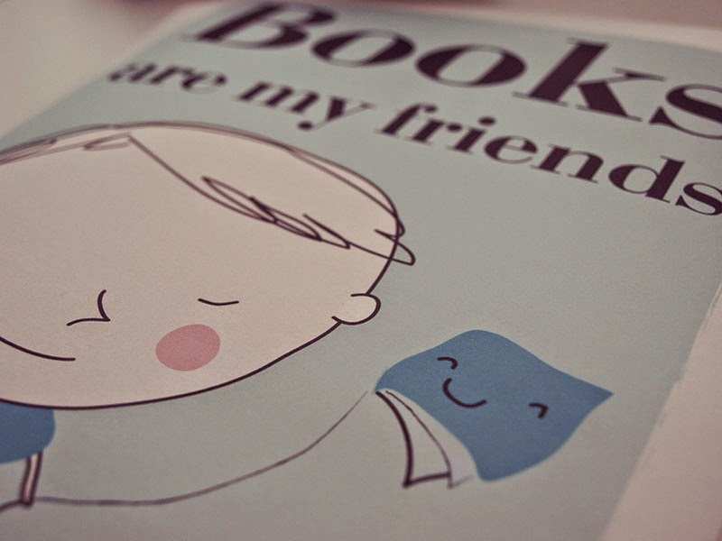 Lámina Books are my friends, personalizada para niños y niñas