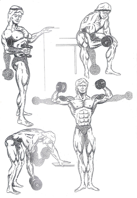 Arm exercises with dumbbells