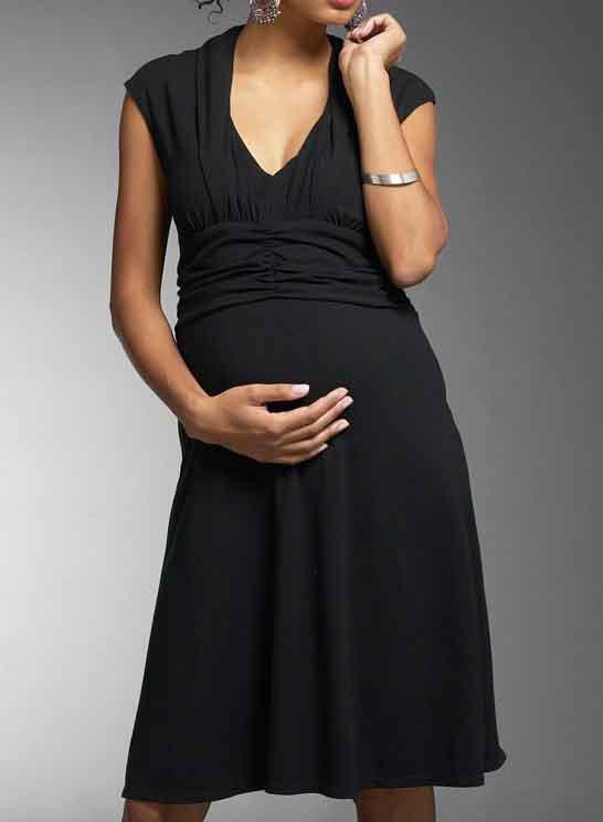 black short summer maternity dress