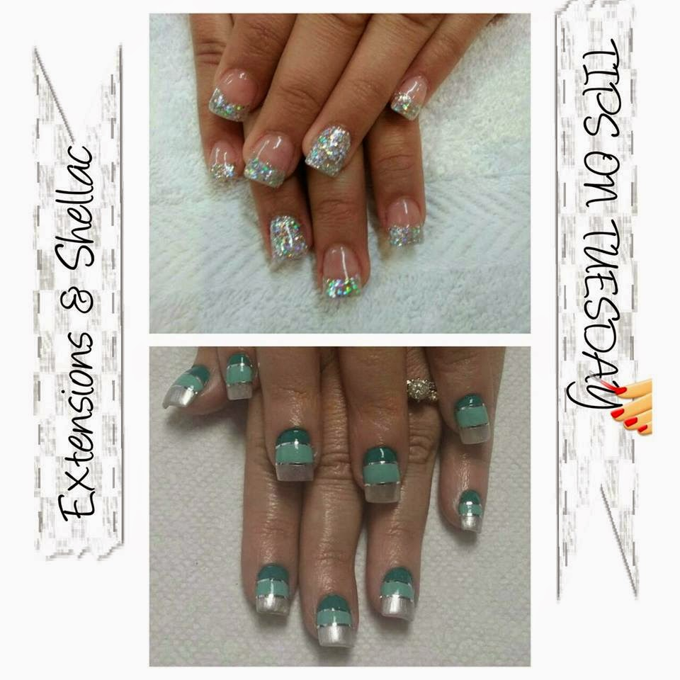 Sculpted acrylics for length and strength followed by Shellac acrylic extensions Paula had chrome silver with holo glitter tapped in for the big bling look