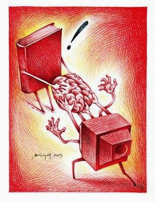 Viñeta de libros vs. TV