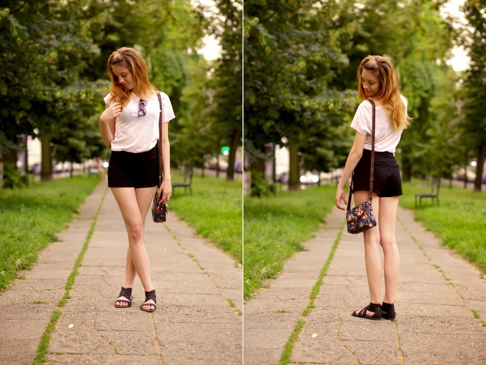 czarny, szorty, biały, t-shirt, jak, nosić, biały, wakacje, moda, zestaw, strój, lato