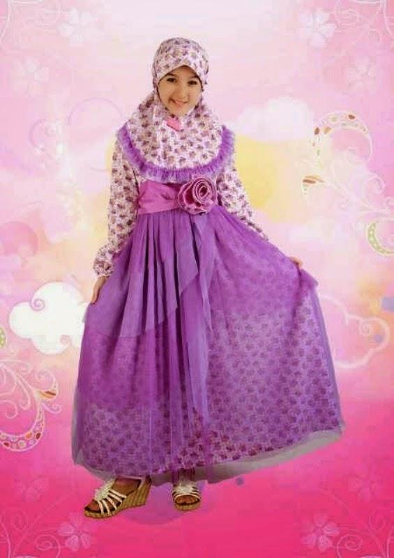 Baju muslim anak perempuan warna ungu motif bunga