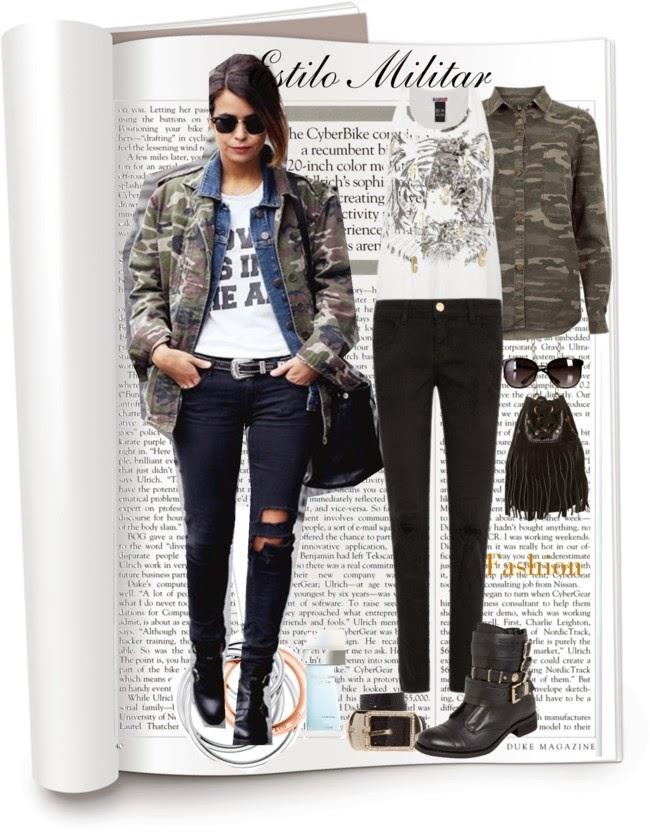 jaqueta camuflada, jaqueta jeans, calça feminina preta, bota feminina, roupas, estio militar, regata tigre, óculode sol