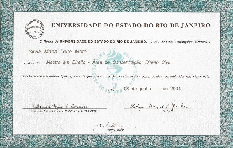 Mestre em Direito Civil - Universidade do Estado do Rio de Janeiro
